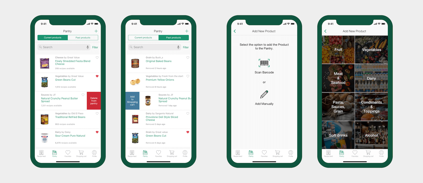 Cooklist - Pantry and Add new product screens