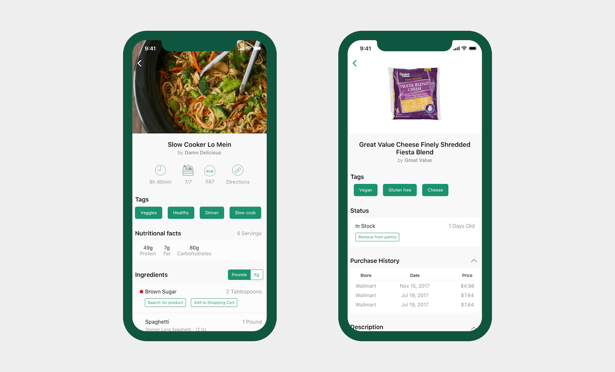 Cooklist - Recipe and product detail screens